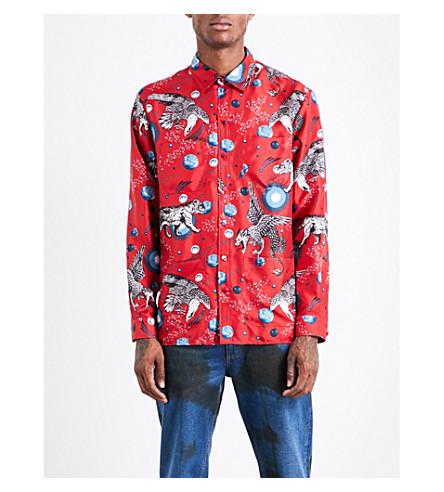 GUCCI Creature-print regular-fit silk shirt (Red+blue