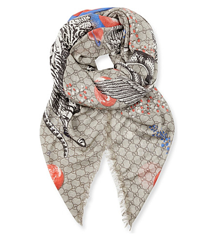 GUCCI Space Animals woven scarf (Beige+blue+red