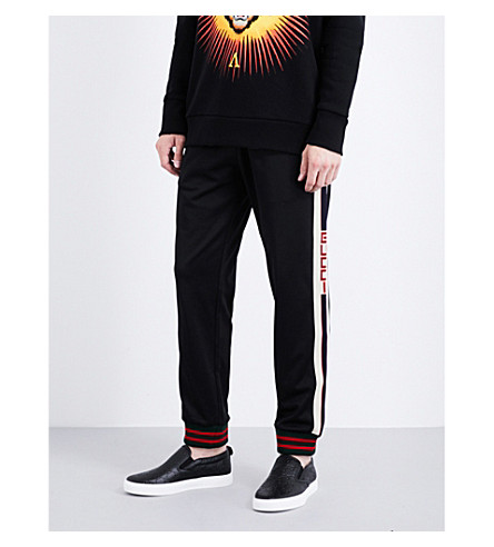 GUCCI Logo-tape stretch-jersey jogging bottoms (Black