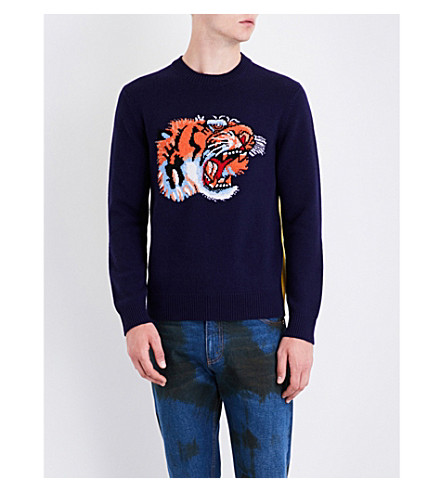 GUCCI Loved and tiger-knitted wool jumper (Navy+yellow