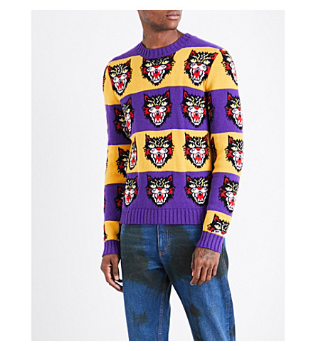 GUCCI Angry Cat striped wool jumper (Purple+yellow