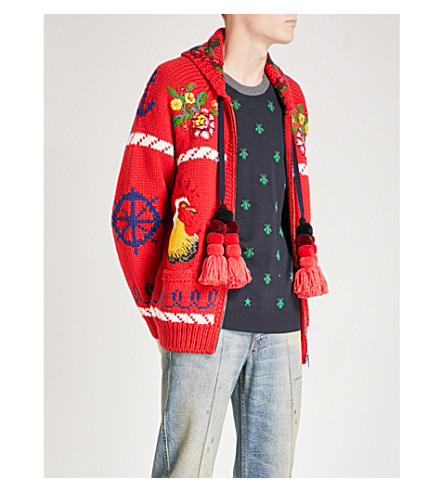 GUCCI Tassel-detailed embroidered wool cardigan (Red