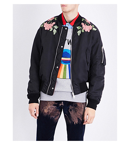 GUCCI Floral-embroidered satin bomber jacket (Black+solarized