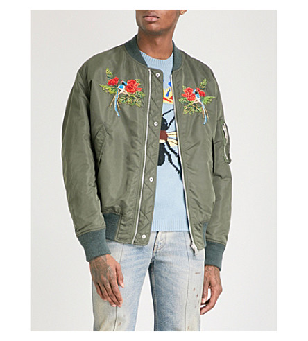 GUCCI Reversible floral and bird-embroidered shell bomber jacket (Green