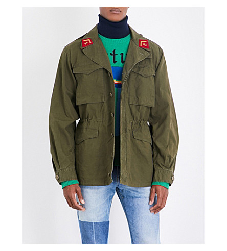 GUCCI Embroidered cotton-drill military jacket (Khaki