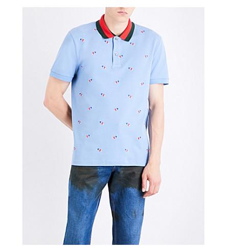 GUCCI Love heart-embroidered cotton-piqué polo shirt (Pale+blue