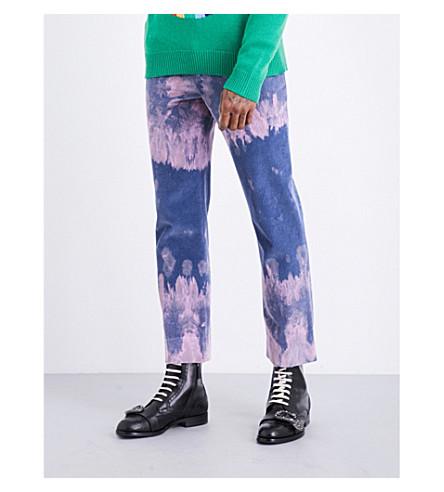 GUCCI Bleached cotton corduroy trousers (Pale+blue+pink