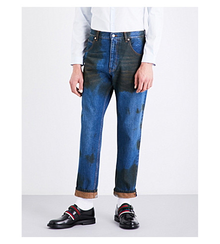GUCCI Dirt-detail tapered regular-fit mid-rise jeans (Blue