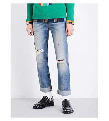 GUCCI Distressed regular-fit straight jeans (Blue