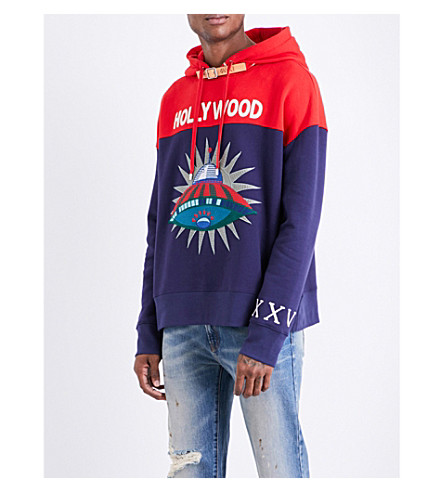 GUCCI Hollywood UFO cotton-jersey hoody (Navy+red