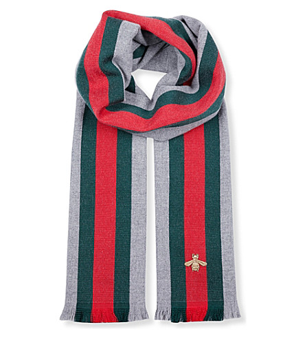 GUCCI House Web wool and cashmere scarf (Grey+red+green