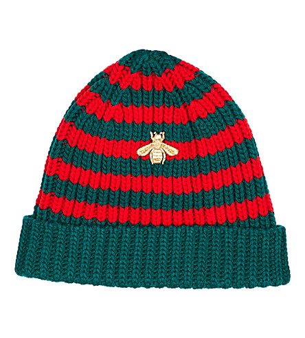 GUCCI Bee-embroidered knit beanie (Green+red
