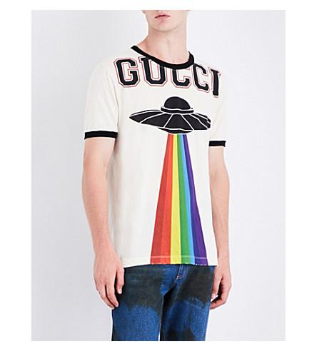 GUCCI Rainbow UFO-print cotton-jersey T-shirt (White