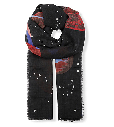 GUCCI Space Snake wool scarf (Black+red