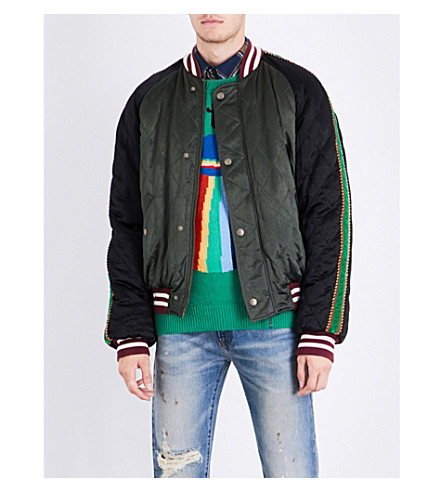 GUCCI UFO-embroidered satin bomber jacket (Green