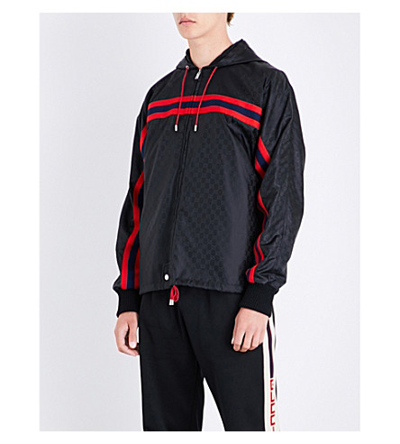GUCCI Monogram-print shell jacket (Black