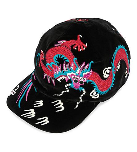 GUCCI Dragon-embroidered velvet cap (Black