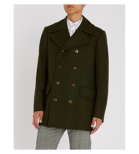 VIVIENNE WESTWOOD Double-breasted wool coat Invisible green Clearance Visit Discount Brand New Unisex Cheap Footlocker Finishline B1nEk8d1
