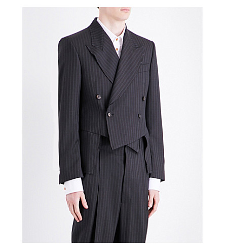 VIVIENNE WESTWOOD Pinstripe double-breasted wool jacket (Grey+pinstripe