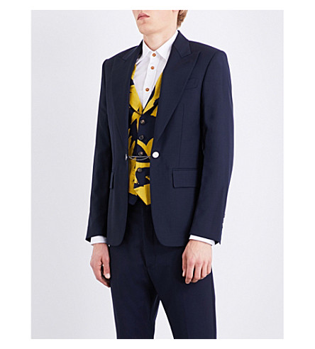 VIVIENNE WESTWOOD Waistcoat-fitted wool jacket (Navy+mix