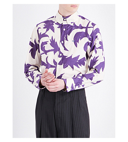 VIVIENNE WESTWOOD Leaf-print classic-fit cotton shirt (Purple+leaves