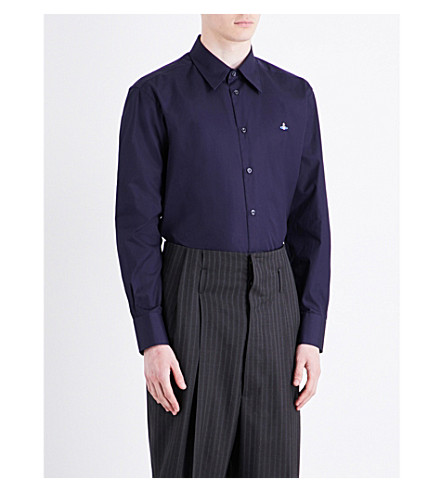 VIVIENNE WESTWOOD Cutaway collar classic-fit cotton shirt (Navy
