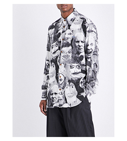 VIVIENNE WESTWOOD Graphic faces-print classic-fit woven shirt (White+black
