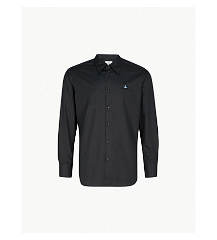 VIVIENNE WESTWOOD Logo-embroidered classic-fit cotton shirt (Black
