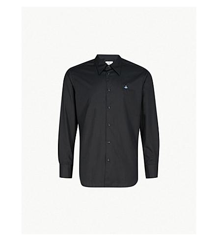 VIVIENNE WESTWOOD 标识刺绣经典版型棉衬衫 (黑色