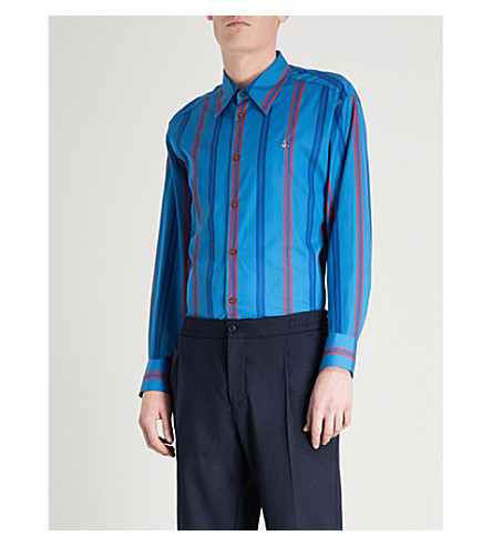 VIVIENNE WESTWOOD Night stripe cotton-poplin shirt (Blue