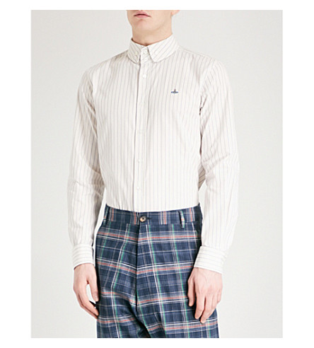 VIVIENNE WESTWOOD Striped regular-fit cotton shirt (White