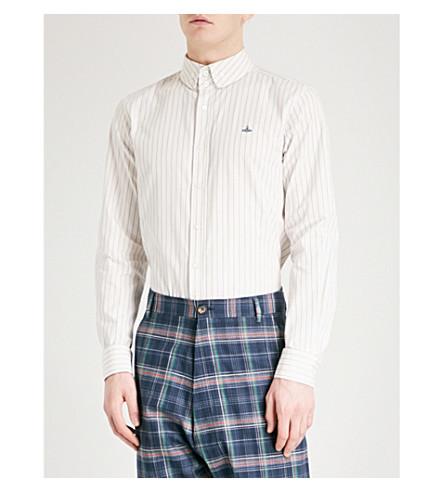 VIVIENNE WESTWOOD 条纹常规版型棉衬衫 (白色