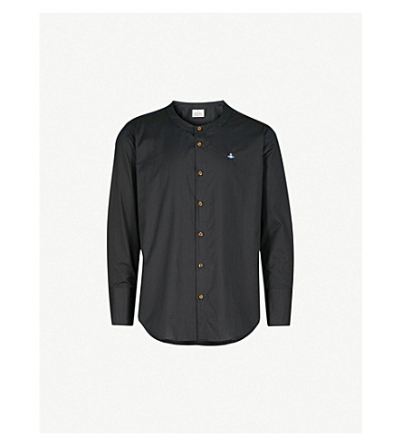 VIVIENNE WESTWOOD Logo-embroidered collarless cotton shirt (Black