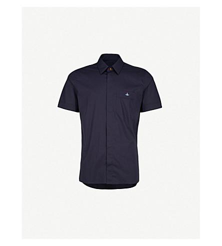 VIVIENNE WESTWOOD Logo-embroidered stretch cotton-poplin shirt (Blue+navy