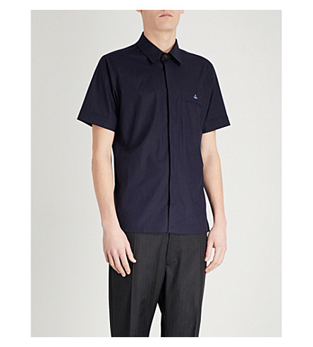 VIVIENNE WESTWOOD Logo-embroidered stretch cotton-poplin shirt (Blue+navy