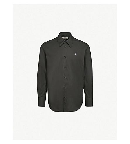 VIVIENNE WESTWOOD Logo-embroidered classic-fit cotton shirt (Black
