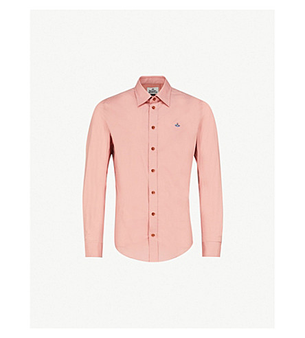 VIVIENNE WESTWOOD Logo-embroidered classic-fit stretch-cotton shirt (Antique+pink