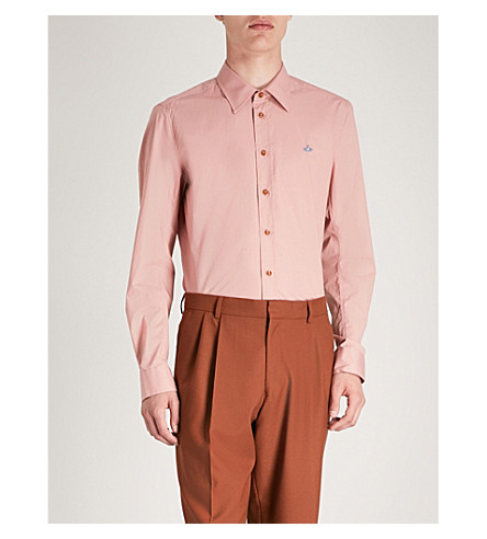 VIVIENNE WESTWOOD Logo-embroidered classic-fit stretch-cotton shirt (Antique pink