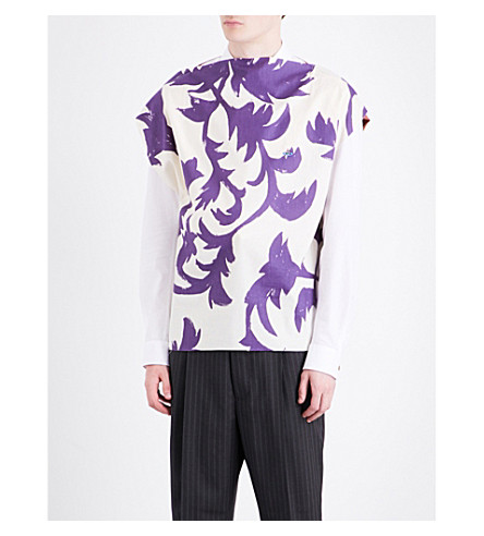 VIVIENNE WESTWOOD Hand-painted cotton-jersey T-shirt (Purple+leaves