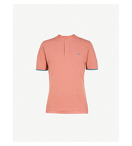 VIVIENNE WESTWOOD Band-collar cotton polo shirt (Brick