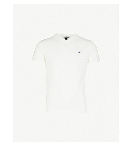 VIVIENNE WESTWOOD Logo-embroidered cotton T-shirt (Off white