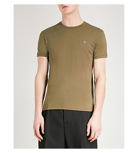 VIVIENNE WESTWOOD Logo-embroidered cotton T-shirt (Olive