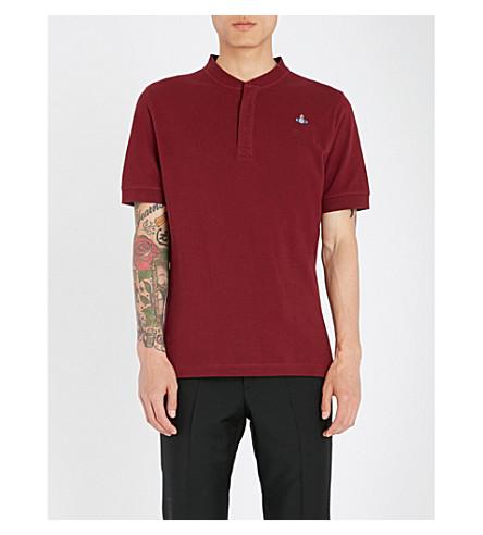 VIVIENNE WESTWOOD Logo-embroidered cotton-piqué polo shirt (Burgandy
