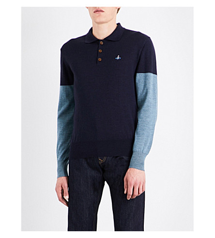 VIVIENNE WESTWOOD Colourblock wool polo shirt (Navy+green