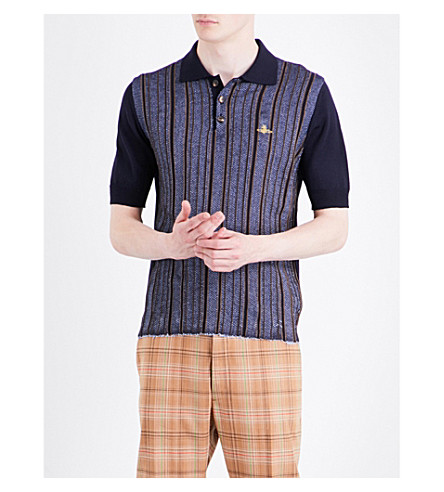 VIVIENNE WESTWOOD Logo-embroidered wool-blend polo shirt (Navy+stripe