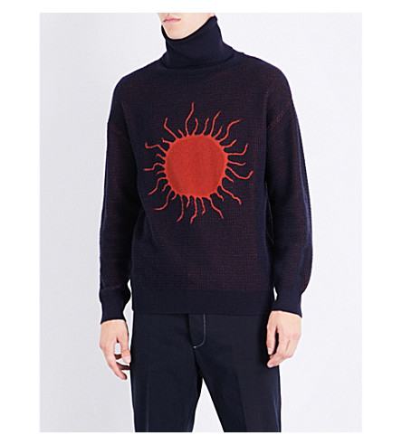 VIVIENNE WESTWOOD Sun knitted wool and cotton-blend jumper (Navy+rust