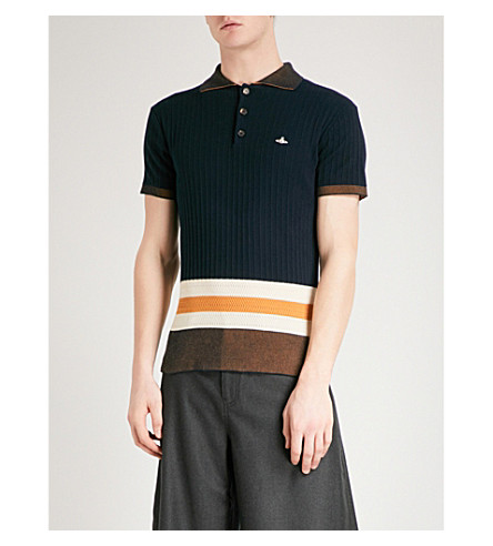 VIVIENNE WESTWOOD Contrast-stripe cotton polo shirt (Navy