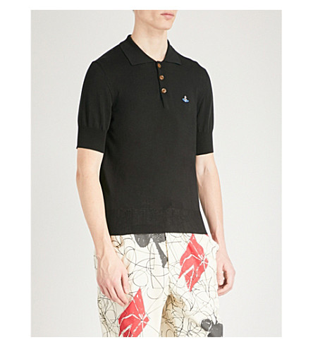 VIVIENNE WESTWOOD Logo-embroidered knitted polo shirt (Black