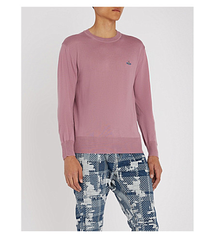 Dusty pink wool VIVIENNE VIVIENNE jumper WESTWOOD V WESTWOOD neck xCB6z8qw0