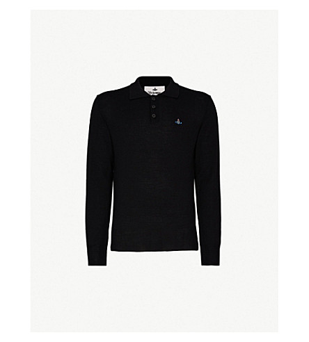 VIVIENNE WESTWOOD Logo-embroidered wool polo shirt (Black